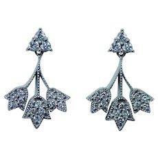 14K White Gold Diamond Dangling Earrings  VS-GH