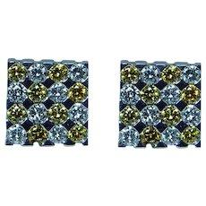 Vintage Canary Yellow Diamond Earrings 14K White Gold Estate Designer