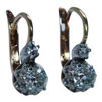 French Antique Old Mine Miner Cushion Diamond Earrings 18K Gold DORMEUSES .70ct