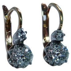 French Antique Old Mine Miner Cushion Diamond Earrings 18K Gold DORMEUSES .70ct