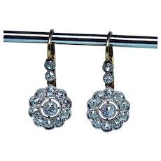 Edwardian 1ct Old Mine Diamond Earrings 18K Gold Platinum Dormeuses