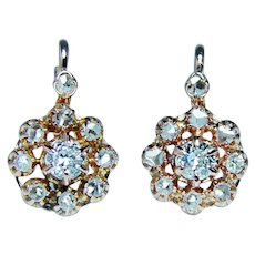 French Victorian Old European Diamond Earrings 18K Rose Gold Dormeuses
