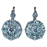 French Old European Rose Diamond Earrings 18K Gold Estate Dormeuses Miner
