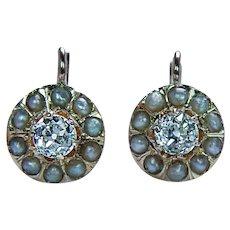 Antique European Diamond Earrings 18K Rose Gold French Backs Estate