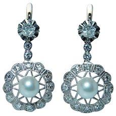 Antique Old Miner Mine Diamond Pearl Earrings 14K Gold French Backs Estate