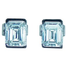 GIA Platinum 1.0ct Emerald Cut Diamond Stud Earrings VS-FG