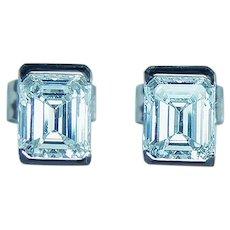 Vintage Platinum 1.04ct Emerald Cut Diamond Stud Earrings Estate VS-D
