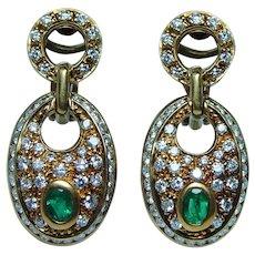 18K Gold Colombian Emerald Diamond Earrings Italy Door Knocker Omega