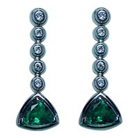 Gem Emerald Diamond Earrings 18K White Gold