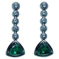 Vintage Gem Emerald Diamond Earrings 18K White Gold Estate
