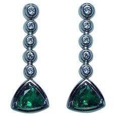 Vintage Gem Emerald Diamond Earrings 18K White Gold Estate