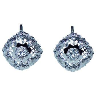 Art Deco Old European Diamond Earrings 14K White Gold Estate French Back Miner