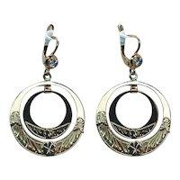 European Vintage Diamond Dangle Earrings 18K Gold French Leverback Large Hanging
