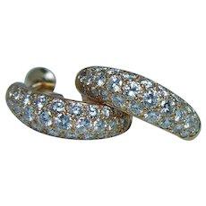 OSCAR HEYMAN Brothers 2ct Diamond Pave Earrings 18K Gold Designer