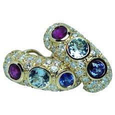 Ruby Sapphire Aquamarine Diamond Earrings 18K Gold Designer 7.4ct
