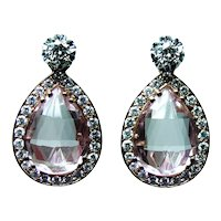18K Rose Gold Kunzite Diamond Dangling Earrings Enhancers Large Day Night