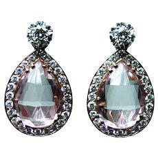 18K Rose Gold Kunzite Diamond Dangling Earrings Enhancers Large Day Night