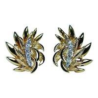 18K Gold Colorless Diamond Leaf Earrings Omega backs