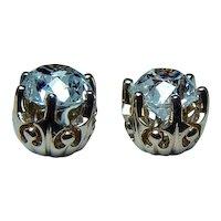 Antique  1.32ct Old European Diamond 18K Gold Stud Earrings Mine Studs