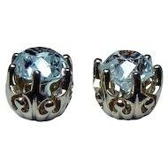 Antique  1.32ct Old European Diamond 18K Gold Stud Earrings Miner Mine