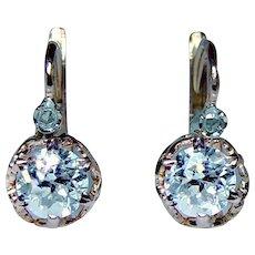 Antique Old Miner Mine Diamond Earrings 18K Gold DORMEUSES French Backs Estate