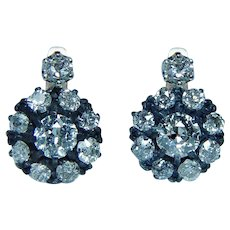 Antique 2.9ct Old Miner Diamond Earrings 14K Rose Gold Estate Dormeuses