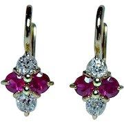Antique 18K Gold Old Miner Diamond Ruby Earrings DORMEUSES Estate