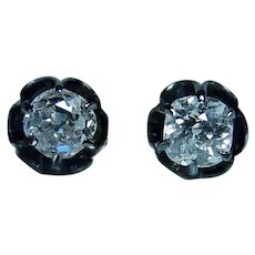 Antique Victorian Old Mine Cut Miner Diamond Stud Earrings 18K Gold