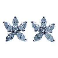 Vintage Marquise Diamond Victoria Earrings 18K White Gold Estate