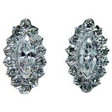 Vintage 14K White Gold Diamond Marquise Earrings Estate