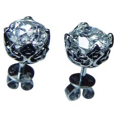 Vintage Old European Diamond Solitaire Stud Earrings 2.18ct 18K White Gold GIA