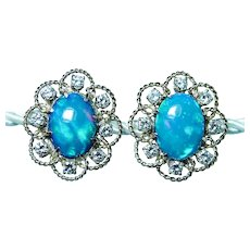 Giant Incredible Diamonds Opal Earrings 14K Gold 2.10ct Diamond