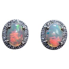 Vintage Opal Diamond Halo 14K Gold Earrings Estate Designer EMA
