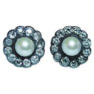 Old European Diamond Genuine Sea Pearl Earrings 14K Rose Gold Edwardian