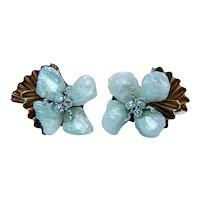 Vintage Natural Pearl Diamond Earrings 14K Gold Estate