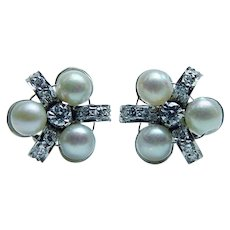 Vintage Platinum Colorless Diamond Genuine Cultured Pearl Earrings  Estate - Red Tag Sale Item