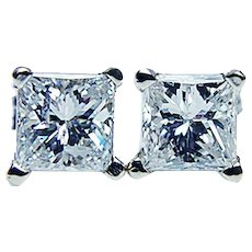 Princess Diamond Stud Earrings Platinum