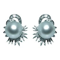 Platinum 1.3ct Diamond 14mm Tahitian South Sea Pearl Earrings Large 1960s