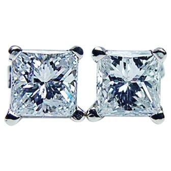 Vintage 1ct VS-GH Princess Diamond Earrings 18K White Gold Estate