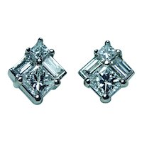 Princess Baguette Diamond Stud Earrings 18K White Gold Designer .90ct