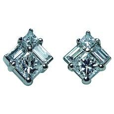 Princess Baguette Diamond Stud Earrings 18K White Gold Designer .90ct