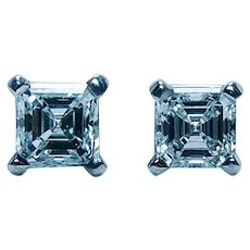 GIA Vintage 1.35ct Asscher Diamond Stud Earrings Platinum Estate Studs