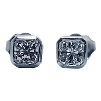 Radiant Diamond Stud Earrings 14K White Gold 1ct VS-HI