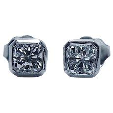 Radiant Diamond Stud Earrings 14K White Gold 1ct VS-HI