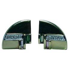 Designer Vitell Diamond Green Pink Tourmaline Earrings 18K Gold Heavy Vintage Estate