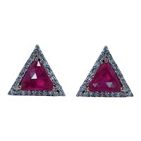 Vintage Ruby Diamond Earrings 18K Rose Gold Designer Estate