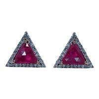 Vintage Ruby Diamond Earrings 18K Rose Gold Designer Estate