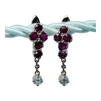 18K Gold Rose cut Diamond Ruby Small Earrings Dangle French Back