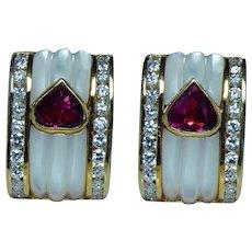 Burmese Ruby Heart Diamond Earrings 18K Gold High End Hallmarked