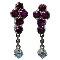 18K Gold Rose cut Diamond Ruby Small Earrings Dangle French Back
